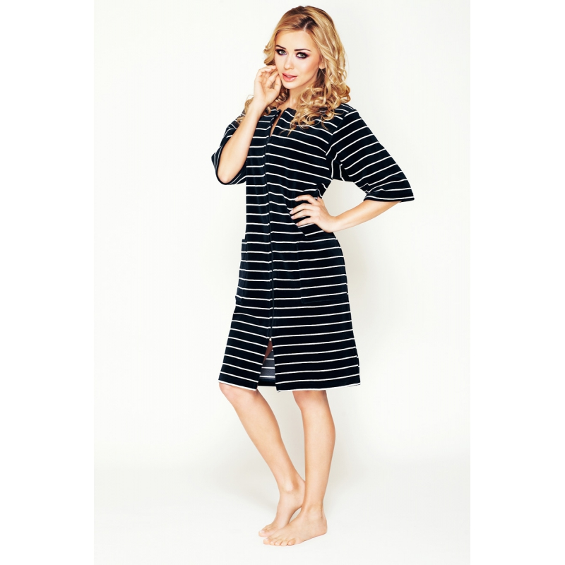 Striped housecoat with a zipper