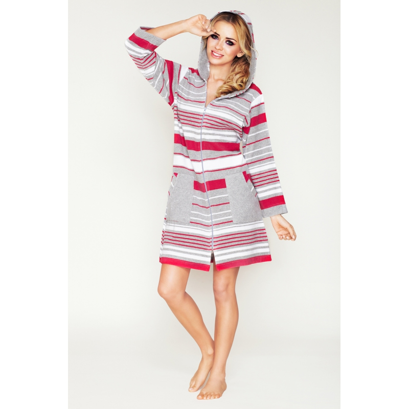 Striped dressing gown with a zipper